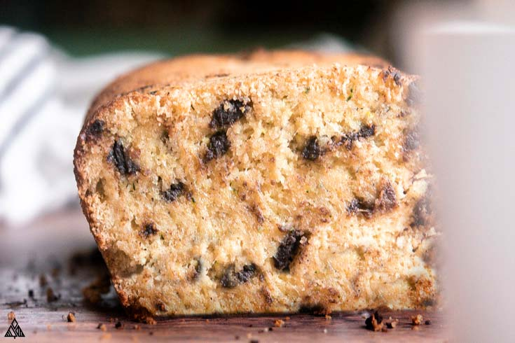 Closer look of low carb zucchini bread