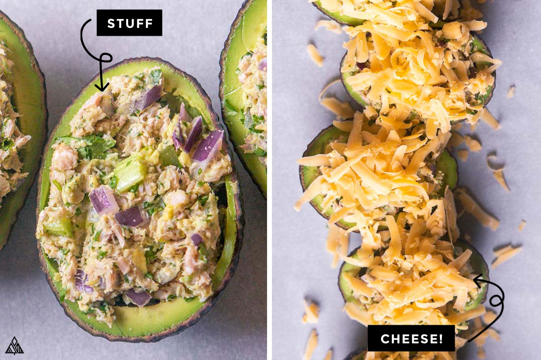 Steps for how to make avocado tuna salad