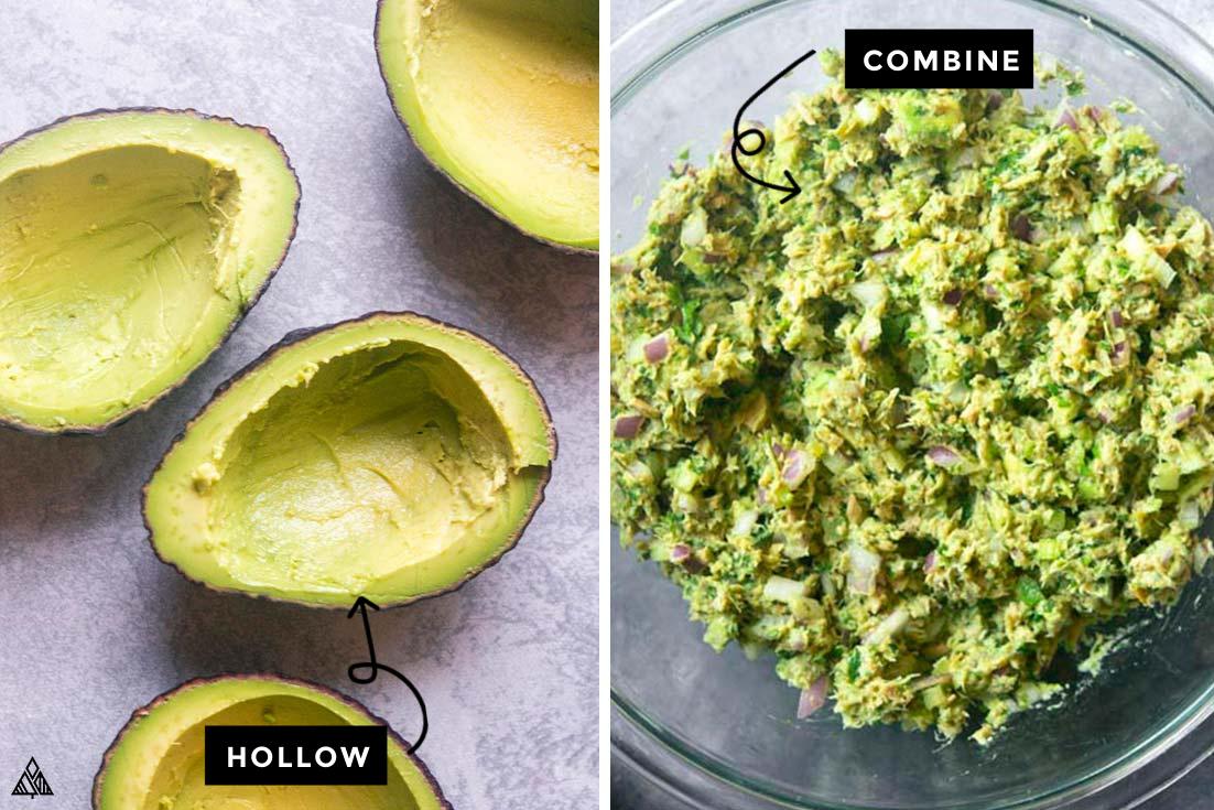 Steps for how to make avocado tuna salad