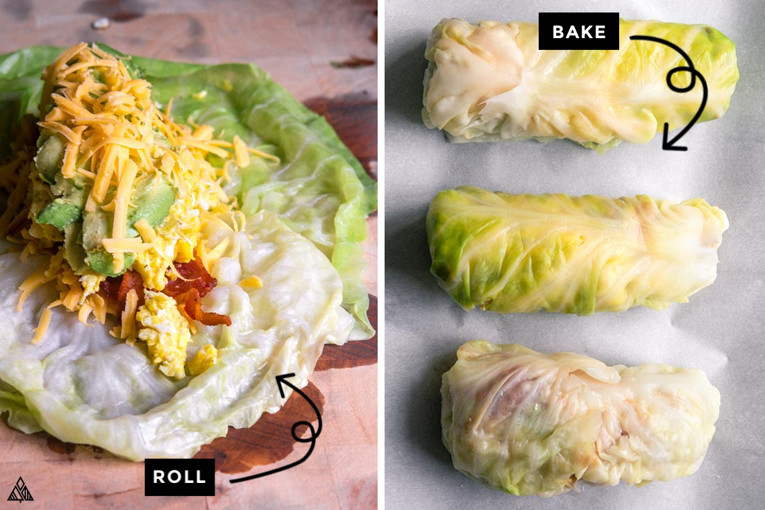 Collage of how to prepare low carb breakfast burritos