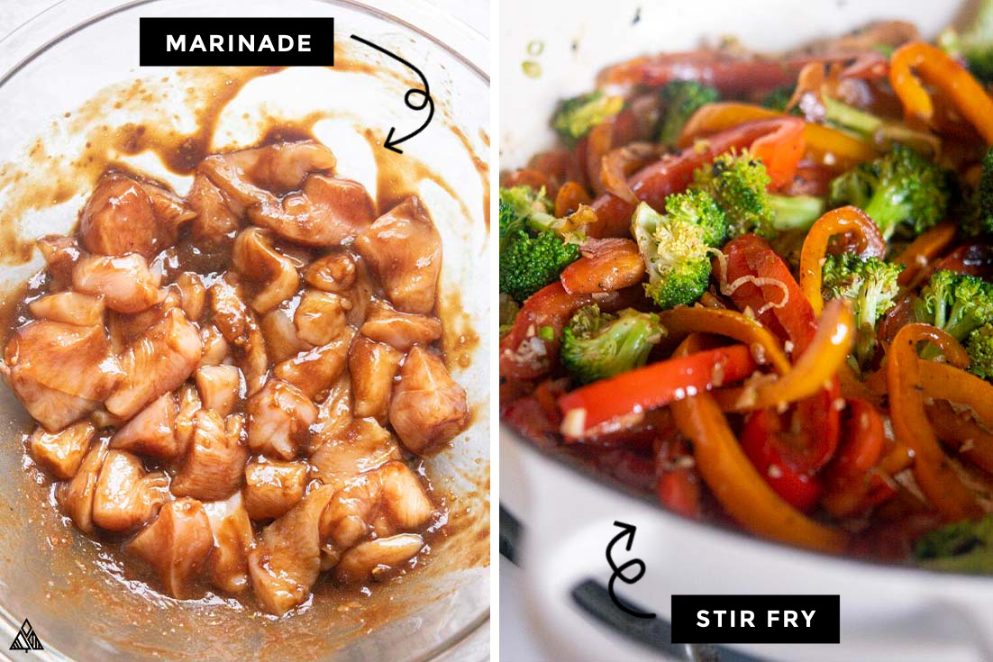 Steps for how to make low carb chicken stir fry