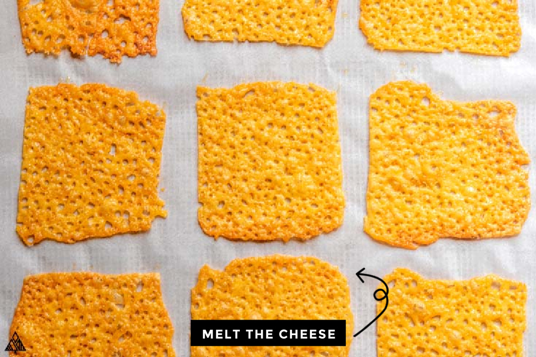 melted cheese on a baking sheet