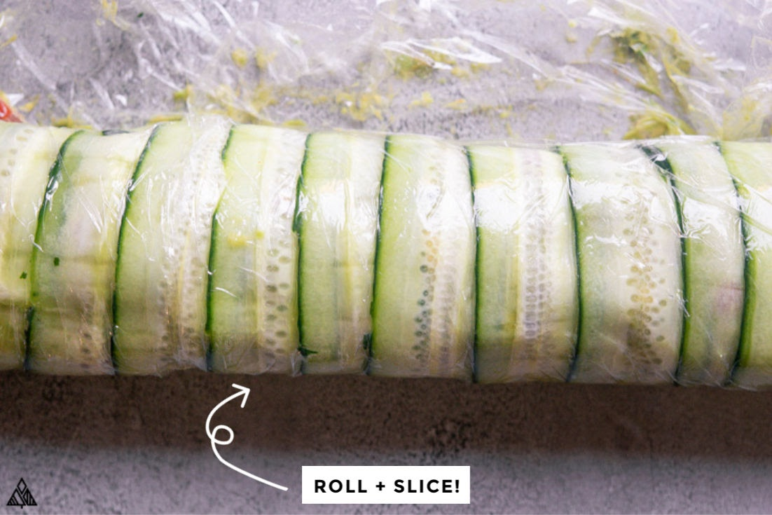 a roll of cucumber wrap