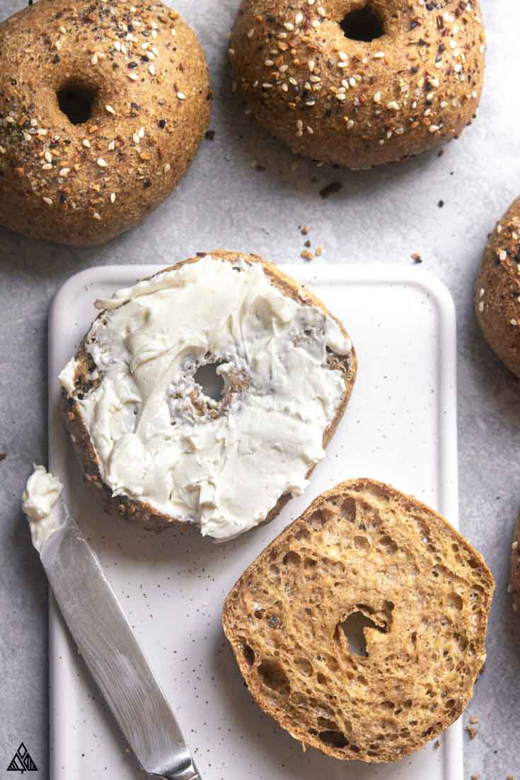 top view of low carb bagel with cream cheese
