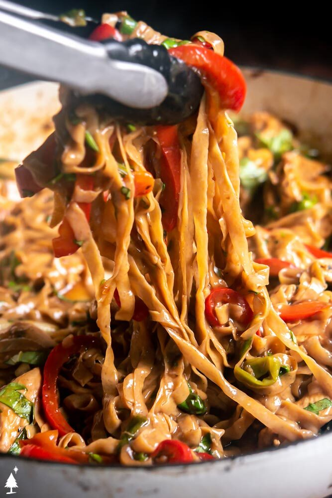 Closer view of low carb thai noodles in a bowl