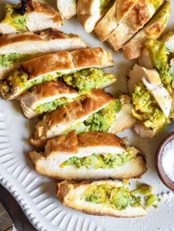top view of broccoli and cheese stuffed chicken