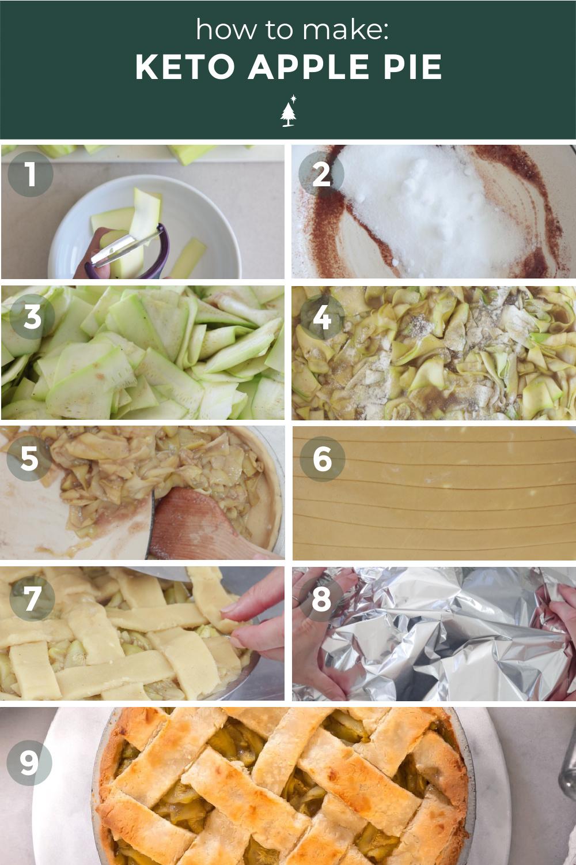 process shots of keto apple pie zucchini