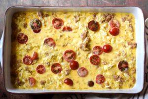 before baking the keto beakfast casserole