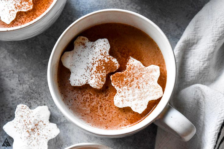 A cup of hot chocolate topped with low carb marshmallows