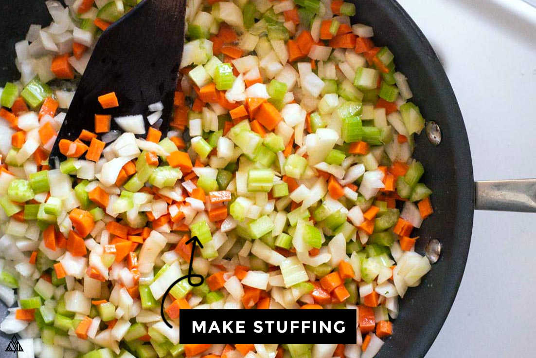 making stuffing for stuffed chicken breast with stuffing