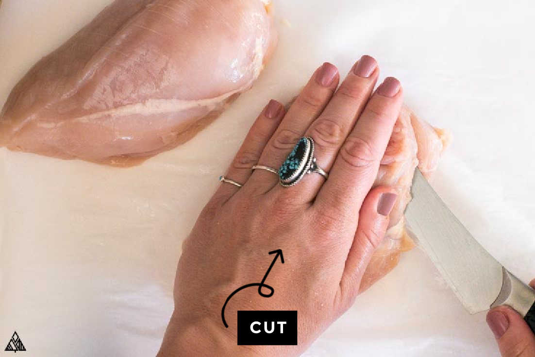 how to slice chicken for stuffed chicken breast with stuffing