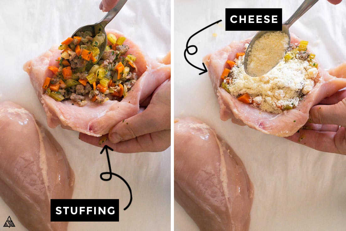 stuffing stuffed chicken brease with stuffing