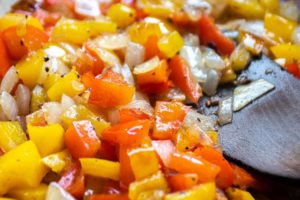 sauteing the vegetables for low carb cheeseburger casserole
