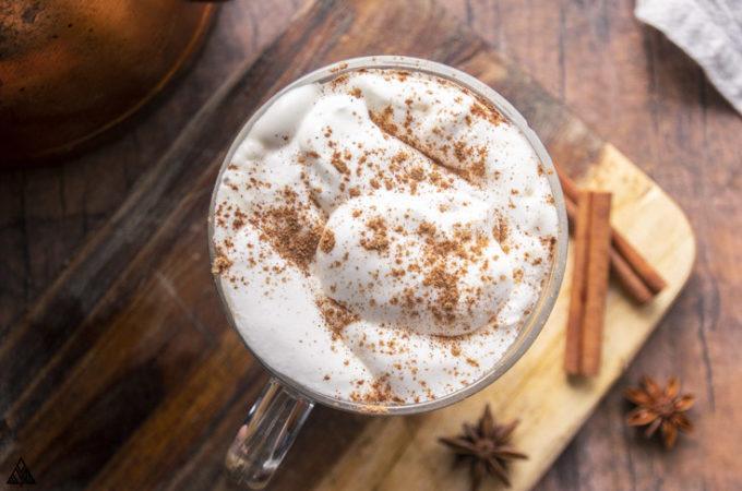 overhead shot of sugar free pumpkin spice latte