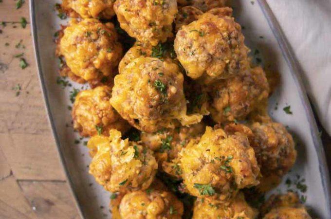 Top view of low carb sausage balls