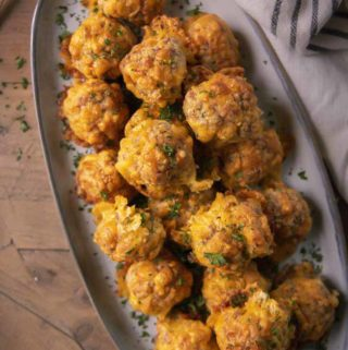 Low carb sausage balls in a plate