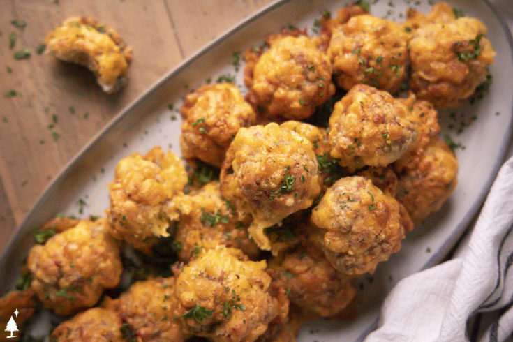 Closer look of keto holiday sausage balls