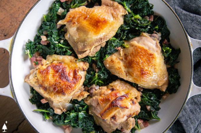 brine chicken thighs in a pot