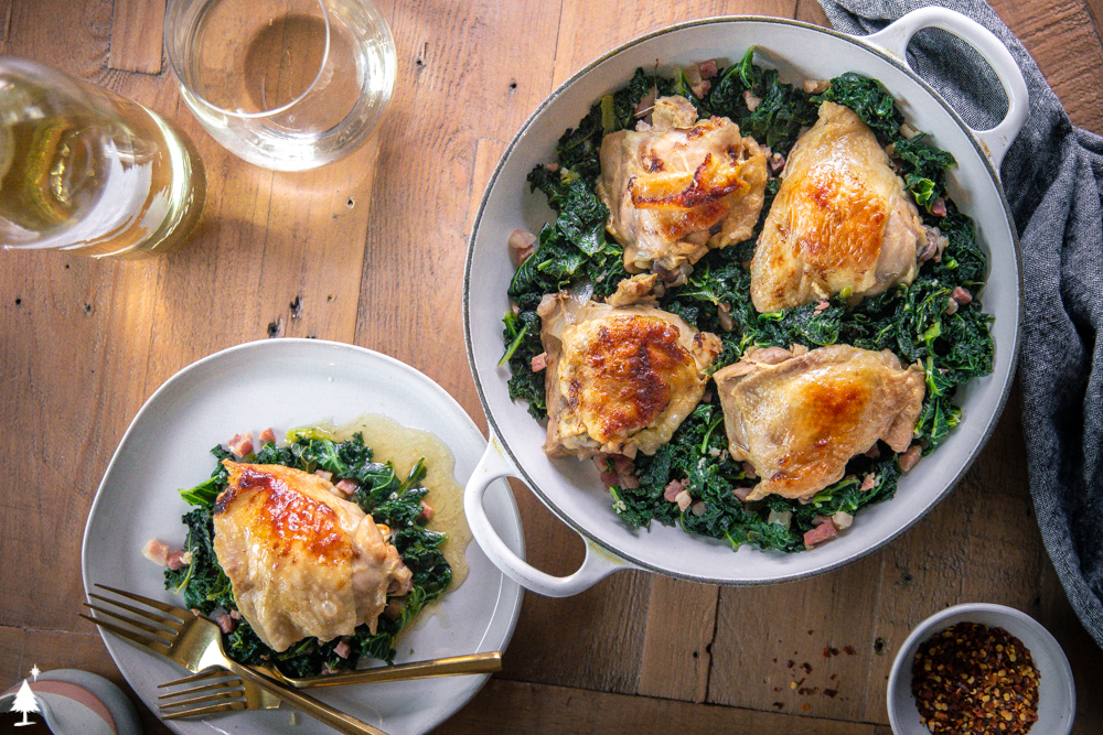 brine chicken in a pot and plate