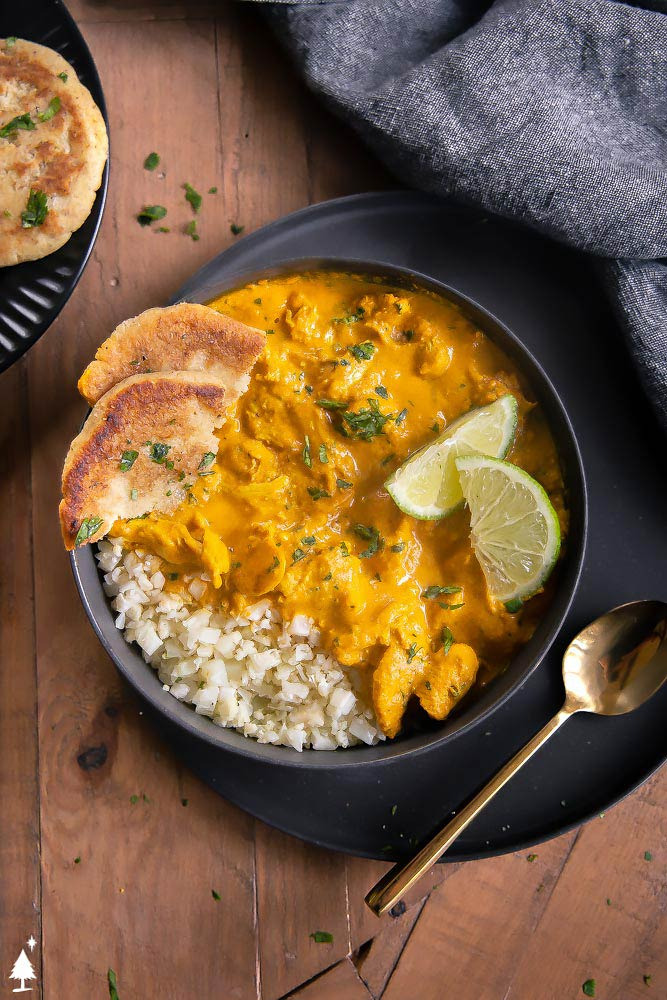 top view of keto chicken curry in a bowl with low carb naan
