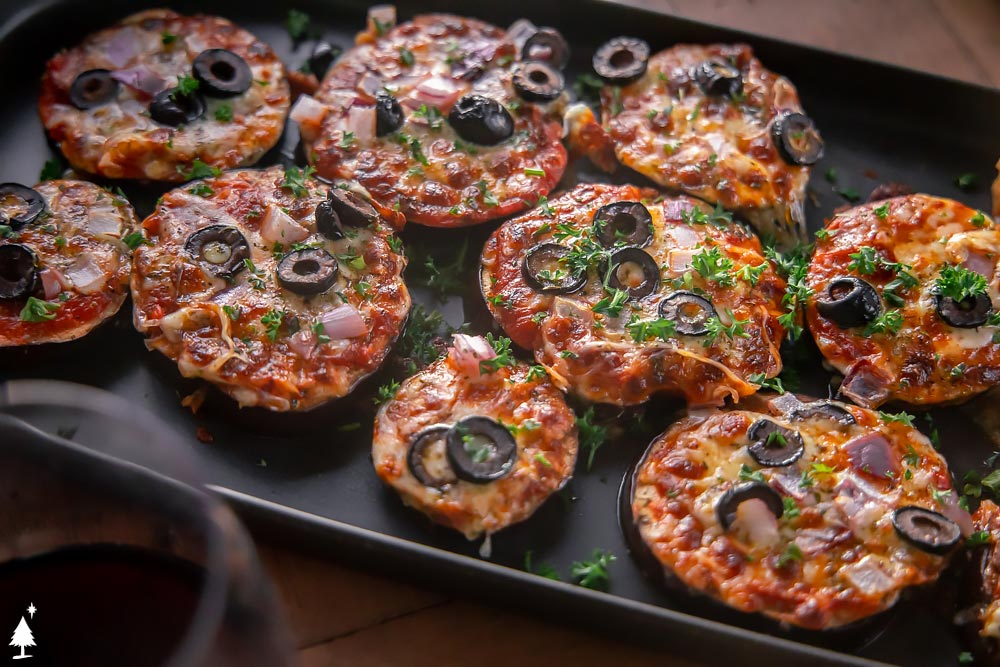 top view of Crispy Eggplant Pizza on a plate
