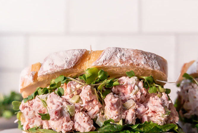 southern ham salad in a sandwich bread