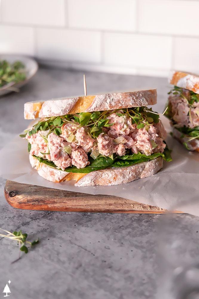 old fashioned ham salad recipe in a sandwich bread