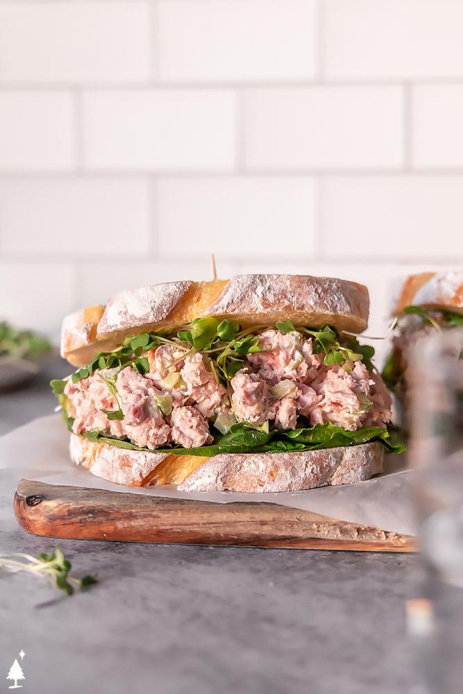 healthy ham salad recipe in a sandwich bread