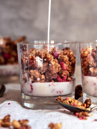 keto granola in a glass