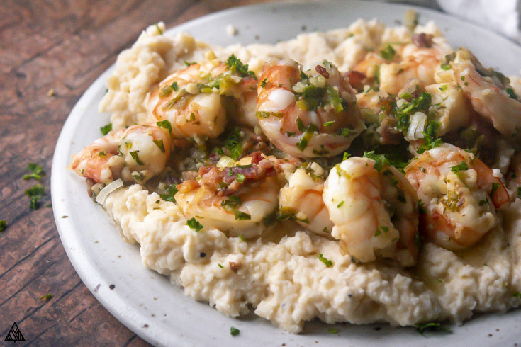 closer view of Low Carb Shrimp and Cauliflower Grits on a plate