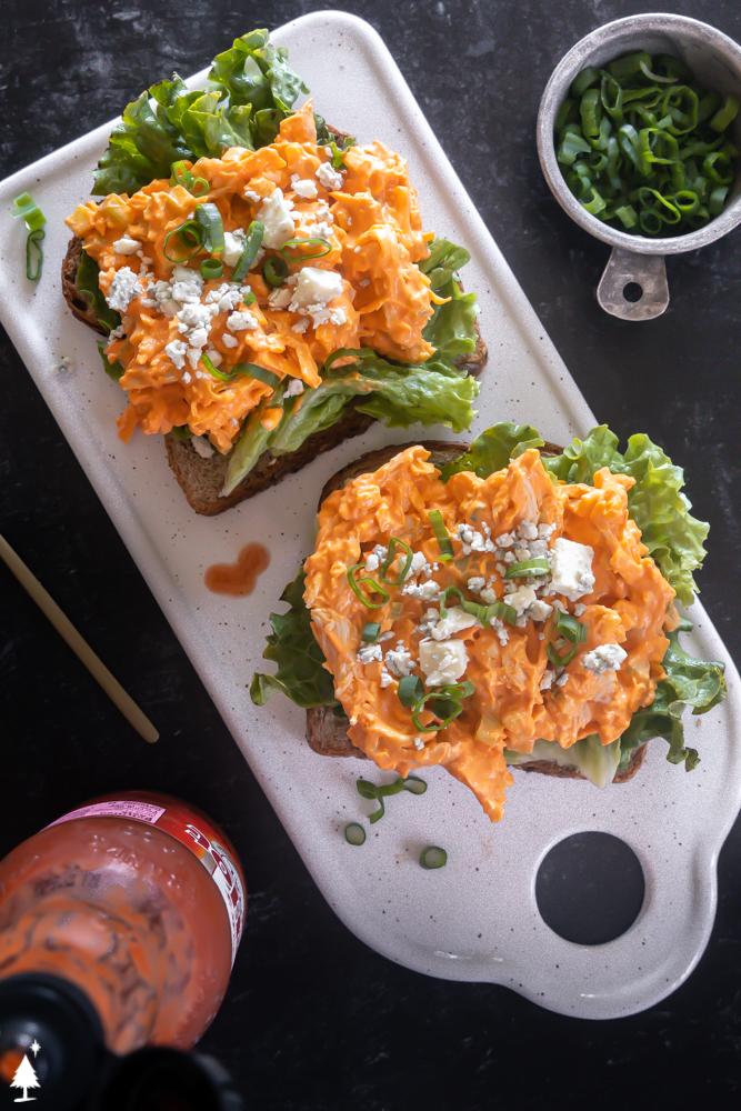 top view of keto buffalo chicken salad