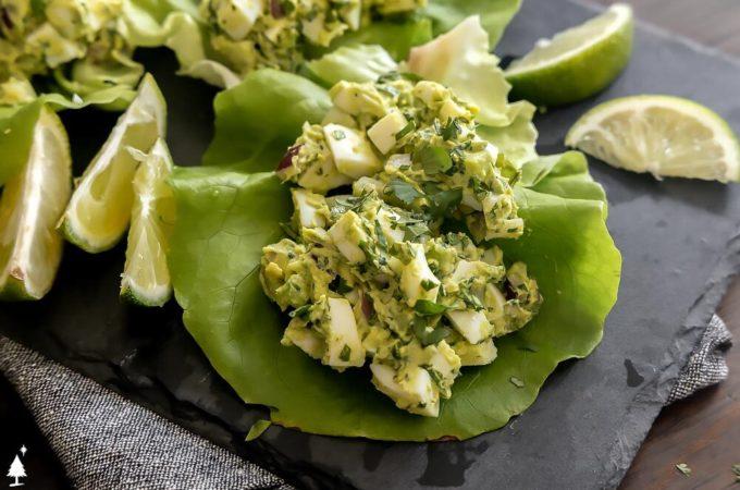 avocado egg salad keto on a lettuce