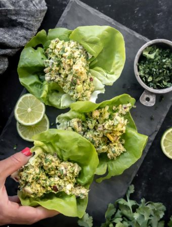 top view of avocado salad on lettuce wrap