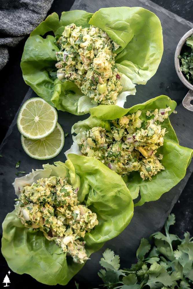 top view of Creamy avocado tuna salad on a lettuce wrap