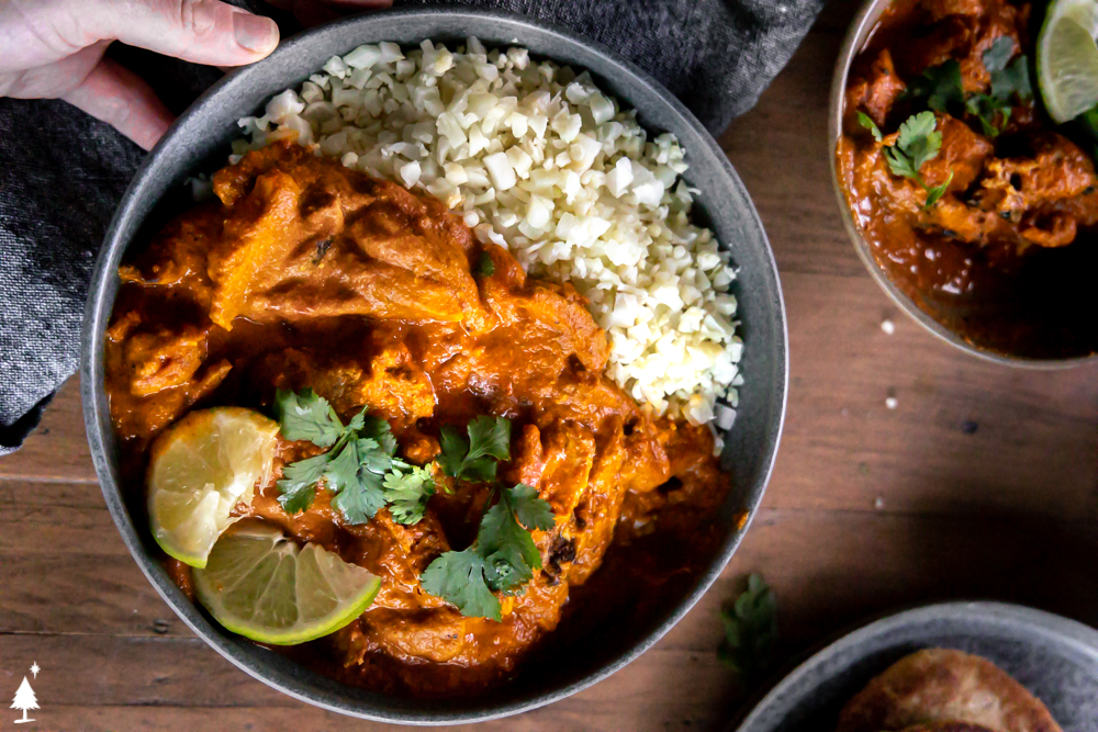 top view of healthy chicken tikka masala in a bowl