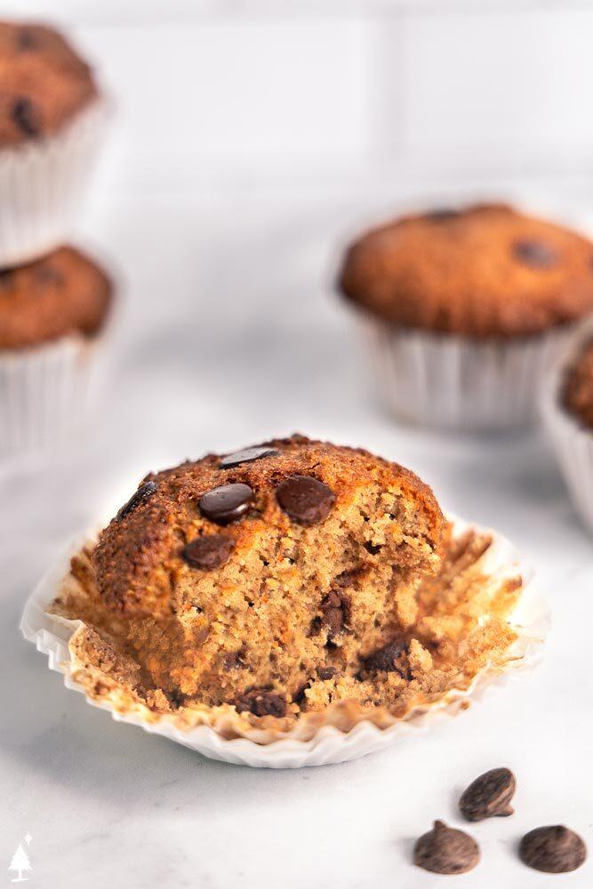 closer view of Keto banana chocolate Chip muffins