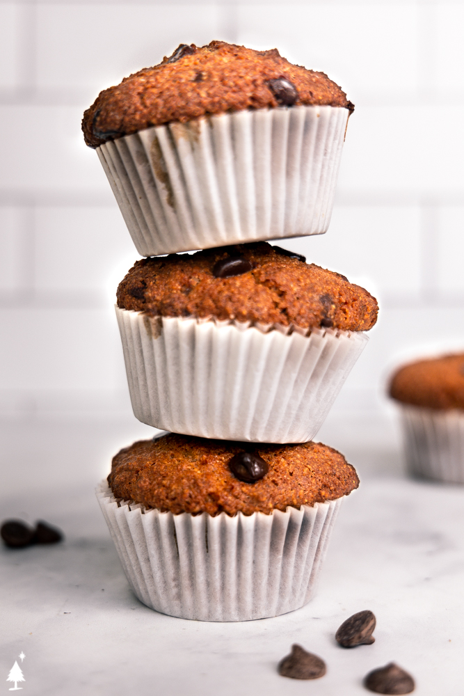 a stack of easy banana muffins
