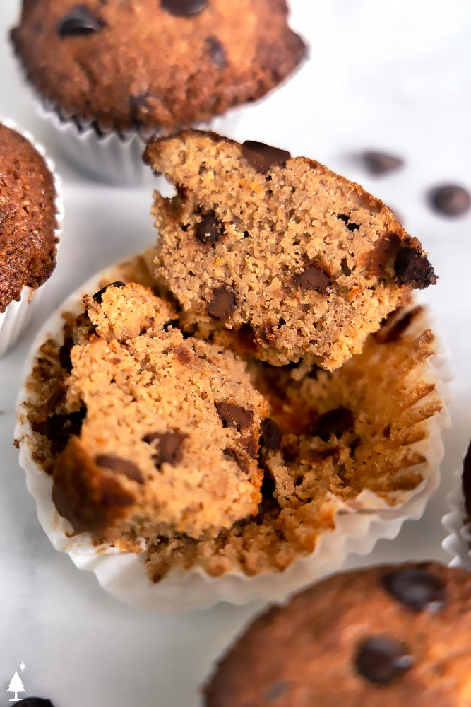 closer view of Keto banana chocolate Chip muffins sliced in half