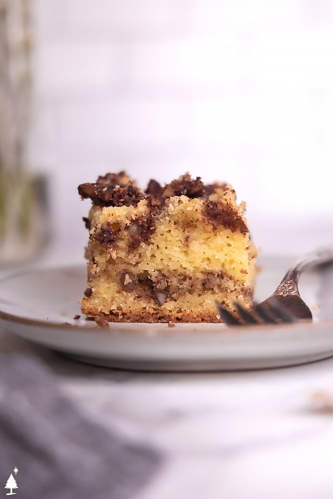 Keto coffee flavoured cake on a plate