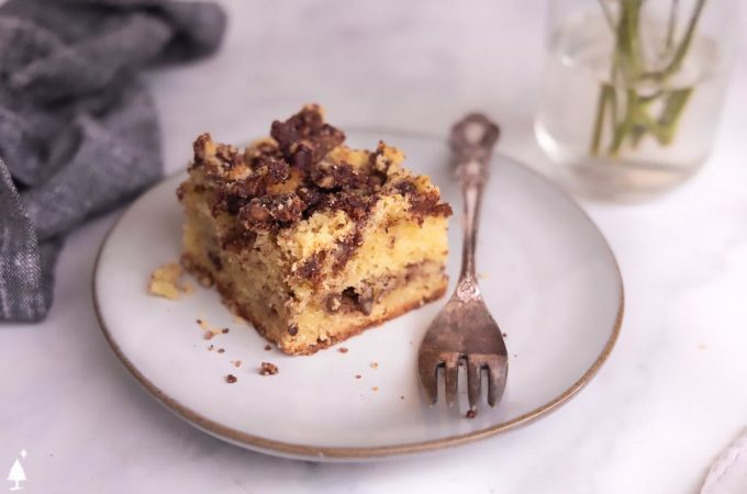 top view of Almond flour coffee cake on a plate