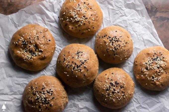 top view of keto buns on a baking sheet