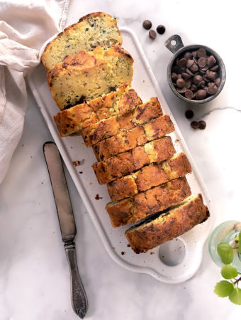 top view of sliced Low carb chocolate zucchini bread