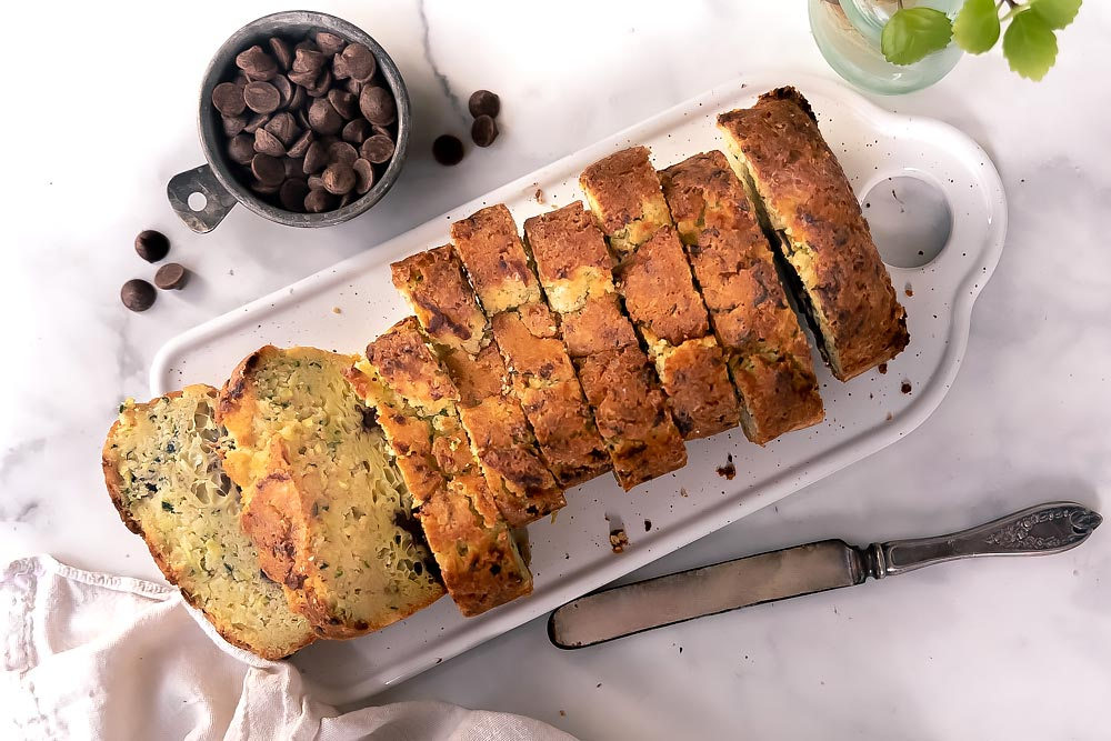 top view of sliced almond flour zucchini bread
