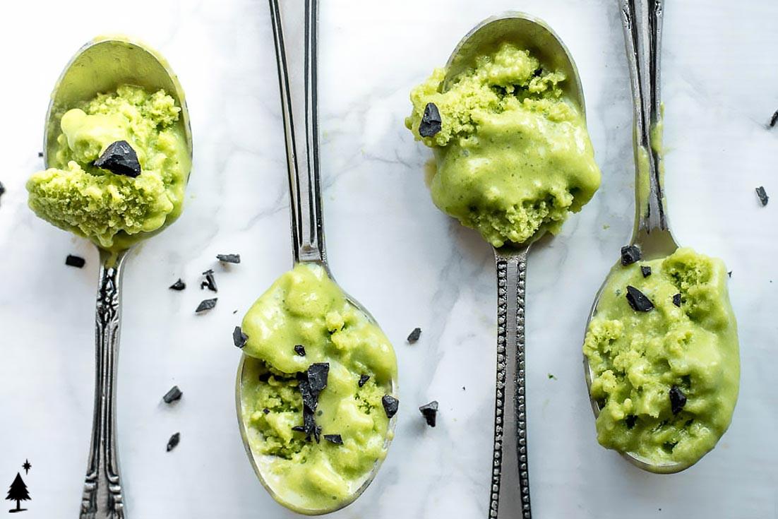 avocado ice cream recipe in spoons