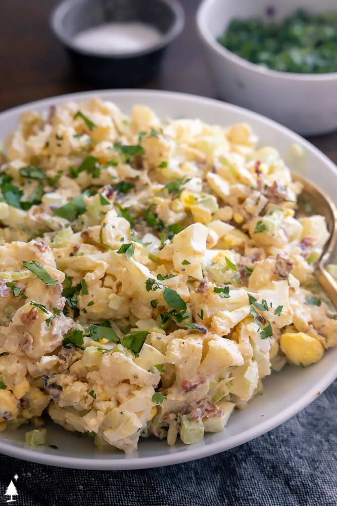 closer view of keto potato salad in a plate