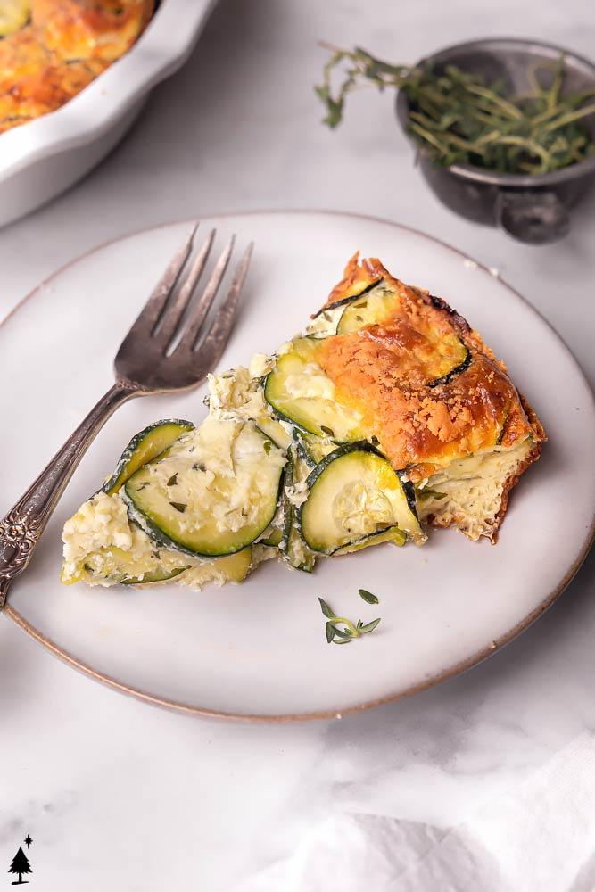 closer view of zucchini quiche recipe on a plate