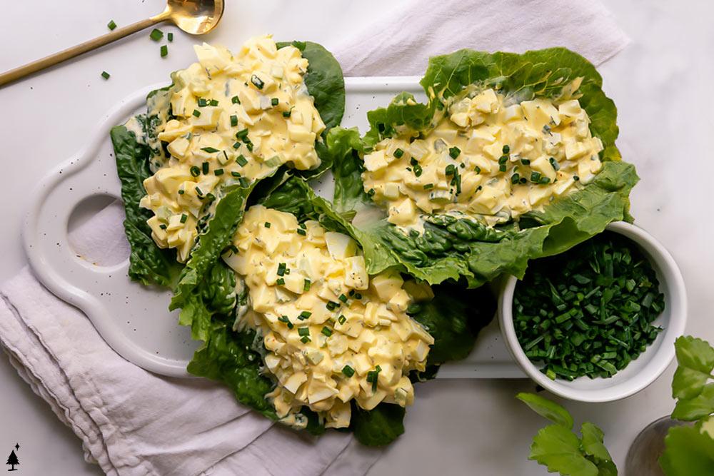 easy egg salad on lettuce wrap