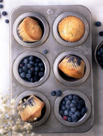 top view of keto blueberry muffins in a muffin pan