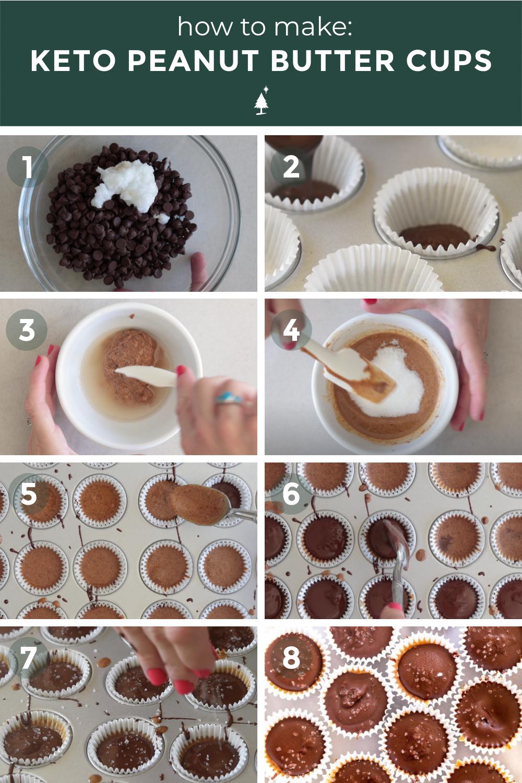 process shots of peanut butter fat bombs