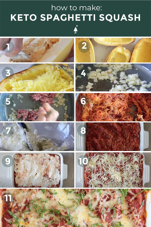 process shots of spaghetti squash casserole